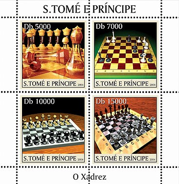 Chess - Les echescs 4v - Issue of Sao Tome and Principe postage stamps