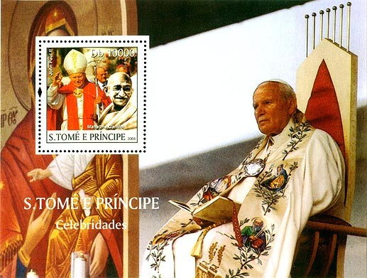 Pope & Gandhi Db 10000 - Issue of Sao Tome and Principe postage stamps
