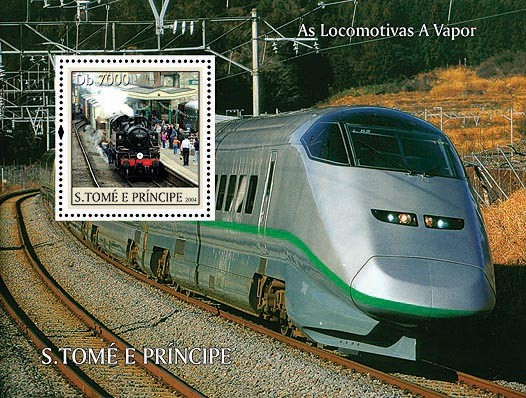 Trains Db 7000 - Issue of Sao Tome and Principe postage stamps