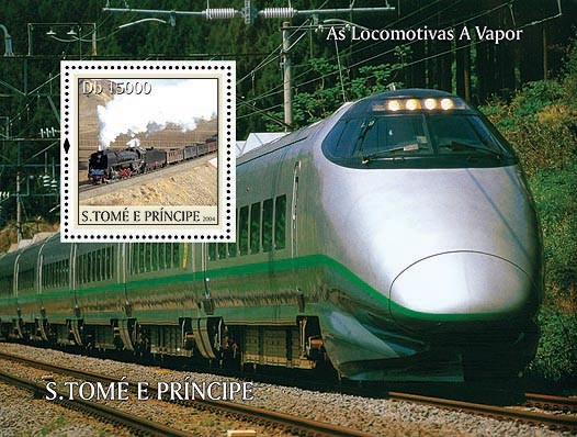 Trains Db 15000 - Issue of Sao Tome and Principe postage stamps