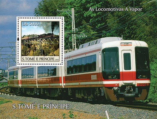 Trains Db 5000 - Issue of Sao Tome and Principe postage stamps