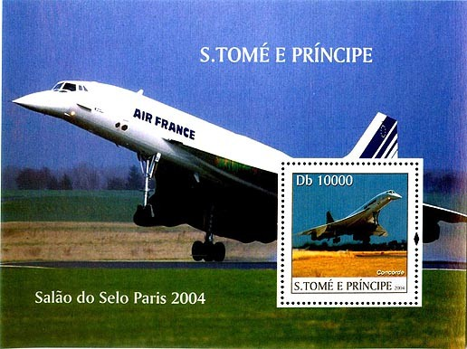 Concorde - Salon de Paris Db 10000 - Issue of Sao Tome and Principe postage stamps