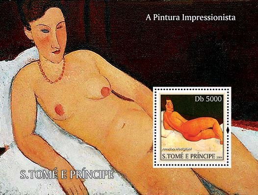 Impressionists - Modigliani Db 5000 - Issue of Sao Tome and Principe postage stamps