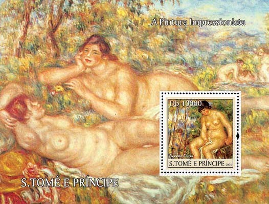 Impressionists - Renoir Db 10000 - Issue of Sao Tome and Principe postage stamps