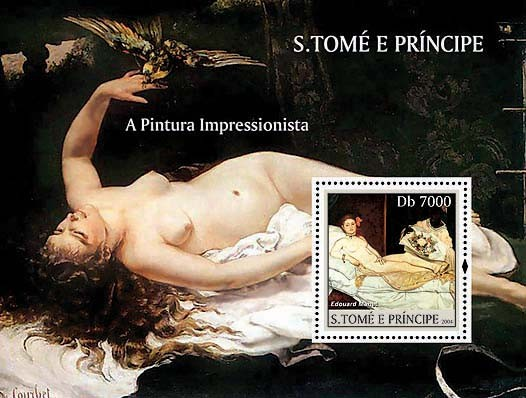 Impressionists - Manet Db 7000 - Issue of Sao Tome and Principe postage stamps