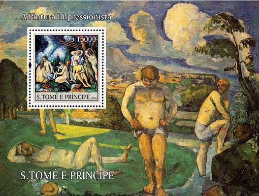 Impressionists - Cezanne Db 15000 - Issue of Sao Tome and Principe postage stamps