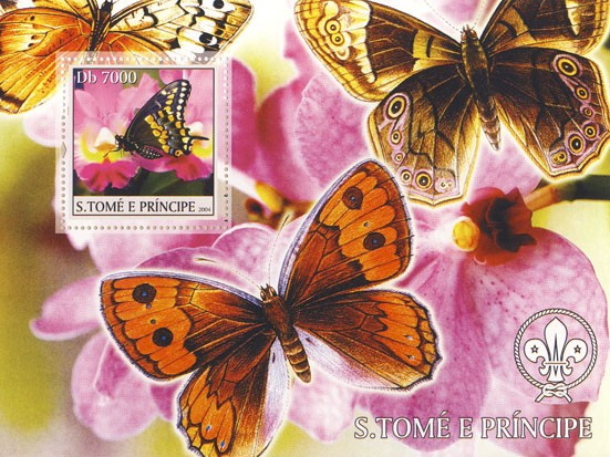 Butterflies & Orchids Db 5000 - Issue of Sao Tome and Principe postage stamps