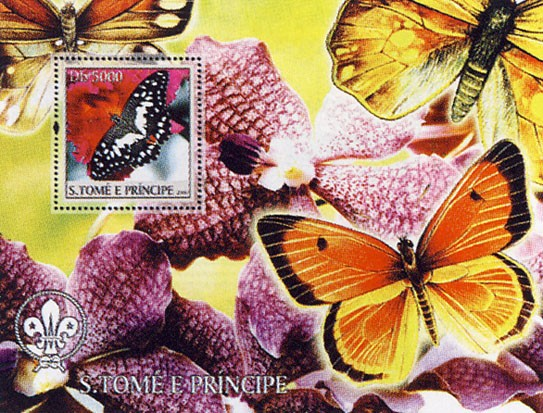 Butterflies & Orchids Db 10000 - Issue of Sao Tome and Principe postage stamps