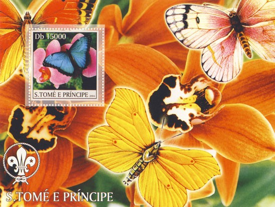 Butterflies & Orchids Db 15000 - Issue of Sao Tome and Principe postage stamps