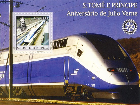 Jules Verne Db 7000 (speed train, Rotary) - Issue of Sao Tome and Principe postage stamps