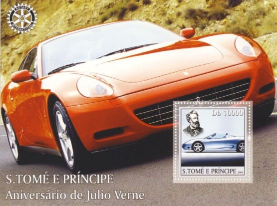 Jules Verne Db 10000 (Ferrari, Rotary) - Issue of Sao Tome and Principe postage stamps