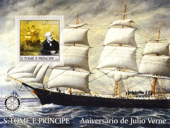 Jules Verne Db 5000 (sailship, Rotary) - Issue of Sao Tome and Principe postage stamps