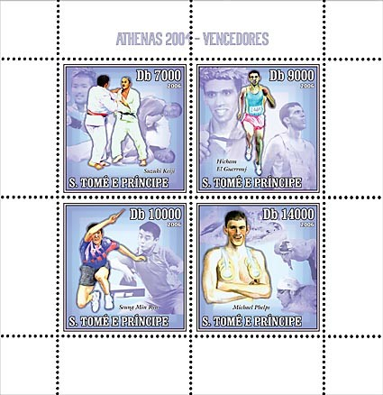 Winners of Athens 2004 (judo, running, table-tennis, swimming) 4 v = 40 000 Db - Issue of Sao Tome and Principe postage stamps