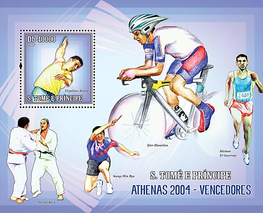 Winners of Athens 2004 (judo, running, table-tennis, bicycle, throw of the disc) S/s = 40 000 Db - Issue of Sao Tome and Principe postage stamps