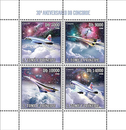30th Anniversary of Concorde 4 v = 40 000 Db - Issue of Sao Tome and Principe postage stamps