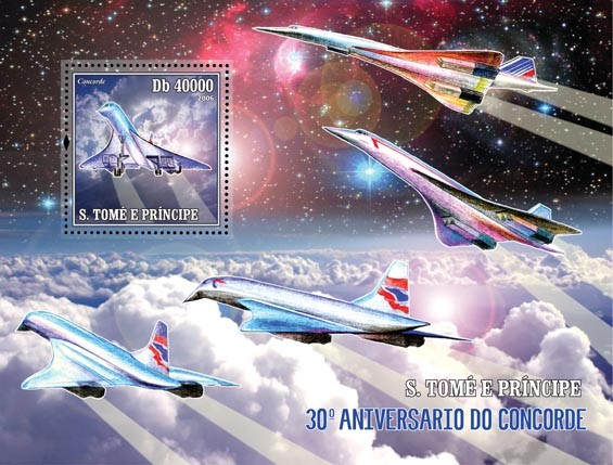 30th Anniversary of Concorde S/s = 40 000 Db - Issue of Sao Tome and Principe postage stamps