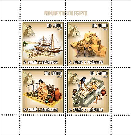 Monuments of Egypt 4 v = 40 000 Db - Issue of Sao Tome and Principe postage stamps