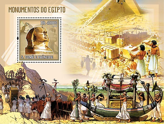 Monuments of Egypt S/s = 40 000 Db - Issue of Sao Tome and Principe postage stamps