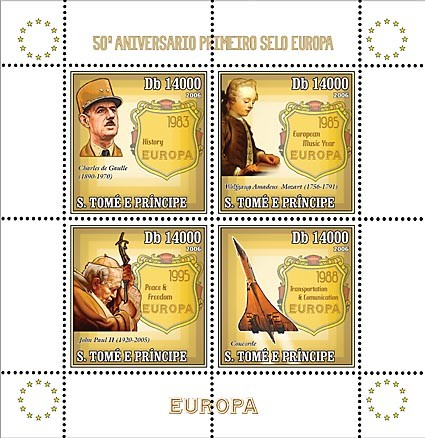 50th Anniversary First EUROPE stamp (CEPT, De Gaulle, Mozart, Pope John Paul II, Concorde) 4 v = 40 000 Db - Issue of Sao Tome and Principe postage stamps