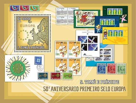 50th Anniversary First EUROPE stamp (CEPT, map of Europe, stamps EUROPE of Portugal S/s = 40 000 Db - Issue of Sao Tome and Principe postage stamps