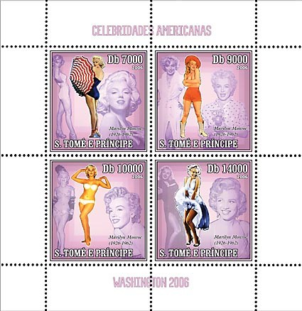 American Celebrities (Marilyn Monroe) 4 v = 40 000 Db - Issue of Sao Tome and Principe postage stamps