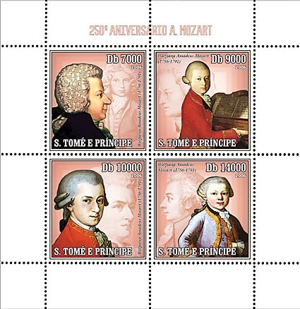 250th Anniversary W. A. Mozart 4 v = 40 000 Db - Issue of Sao Tome and Principe postage stamps