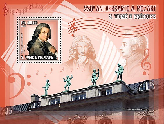 250th Anniversary W. A. Mozart S/s = 40 000 Db - Issue of Sao Tome and Principe postage stamps