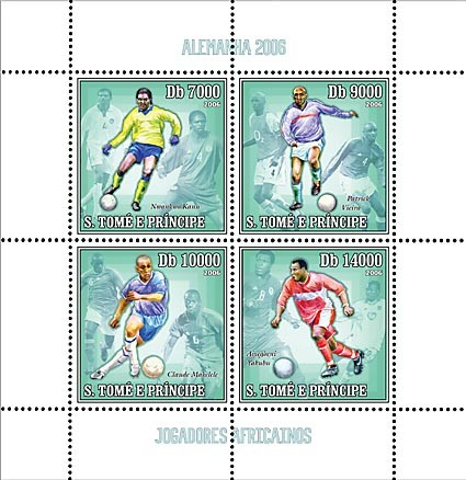 Germany 2006 - African Football Stars 4 v = 40 000 Db - Issue of Sao Tome and Principe postage stamps