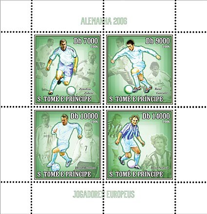 Germany 2006 - European Football Stars 4 v = 40 000 Db - Issue of Sao Tome and Principe postage stamps