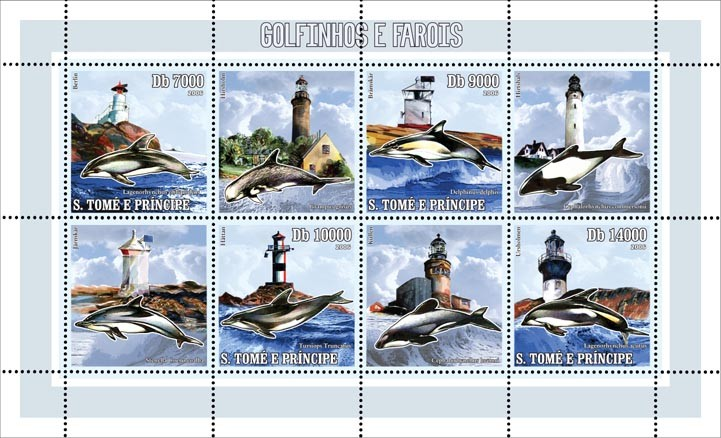 Dolphins & lighthouses 4 v = 40 000 Db - Issue of Sao Tome and Principe postage stamps