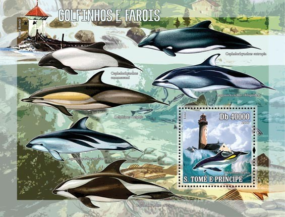 Dolphins & lighthouses S/s = 40 000 Db - Issue of Sao Tome and Principe postage stamps