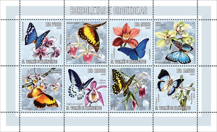 Butterflies & orchids 4 v = 40 000 Db - Issue of Sao Tome and Principe postage stamps