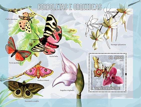 Butterflies & orchids S/s = 40 000 Db - Issue of Sao Tome and Principe postage stamps