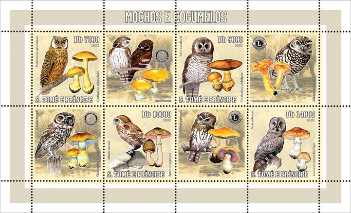 Owls & mushrooms (& Rotary/Lions) 4 v = 40 000 Db - Issue of Sao Tome and Principe postage stamps