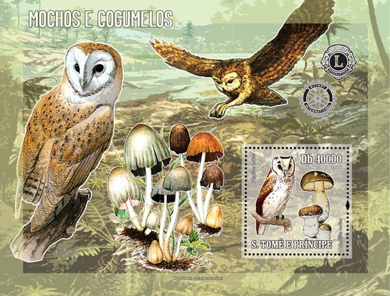 Owls & mushrooms (& Rotary/Lions) S/s = 40 000 Db - Issue of Sao Tome and Principe postage stamps