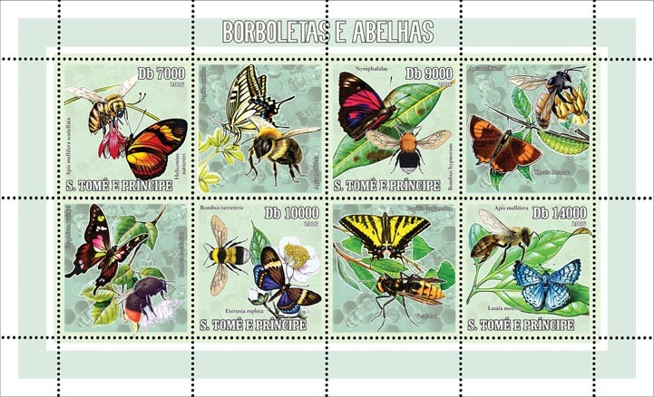 Butterflies & bees 4 v = 40 000 Db - Issue of Sao Tome and Principe postage stamps