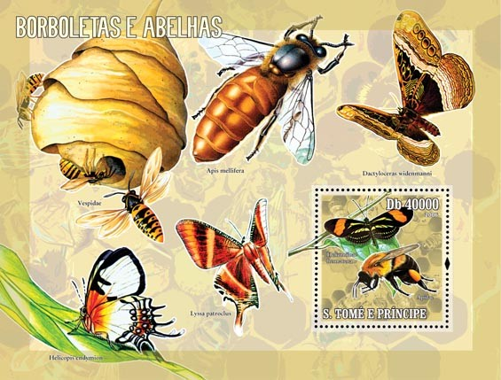 Butterflies & bees S/s = 40 000 Db - Issue of Sao Tome and Principe postage stamps