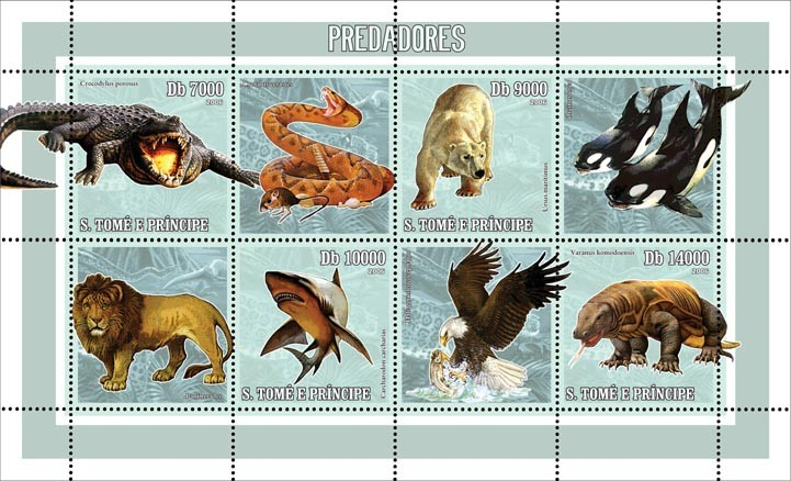 Predators 4 v = 40 000 Db - Issue of Sao Tome and Principe postage stamps