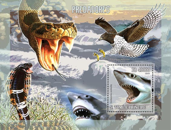 Predators S/s = 40 000 Db - Issue of Sao Tome and Principe postage stamps