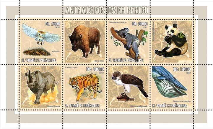 Endangered animals 4 v = 40 000 Db - Issue of Sao Tome and Principe postage stamps