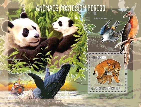 Endangered animals S/s = 40 000 Db - Issue of Sao Tome and Principe postage stamps
