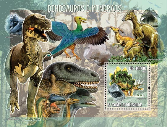 Prehistoric animals & minerals S/s = 40 000 Db - Issue of Sao Tome and Principe postage stamps