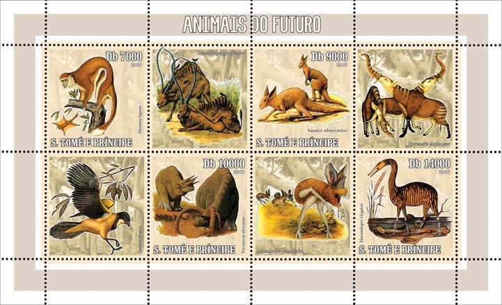 Animals of the future 4 v = 40 000 Db - Issue of Sao Tome and Principe postage stamps
