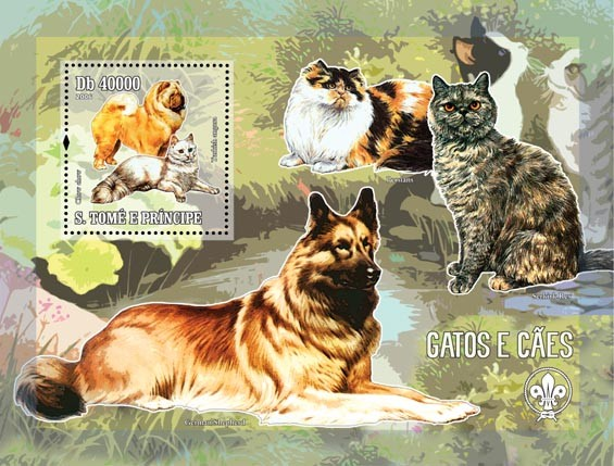 Dogs & cats (& scouts) S/s = 40 000 Db - Issue of Sao Tome and Principe postage stamps