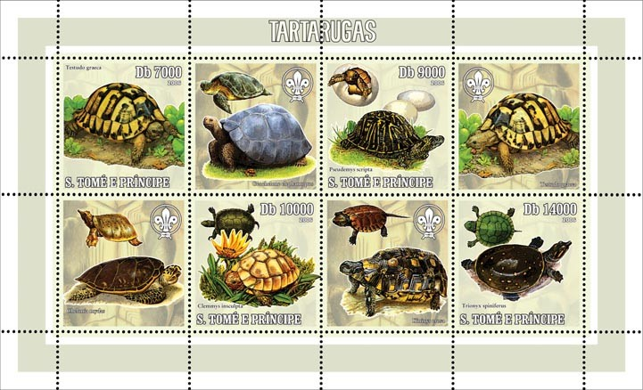 Turtles (& scouts) 4 v = 40 000 Db - Issue of Sao Tome and Principe postage stamps