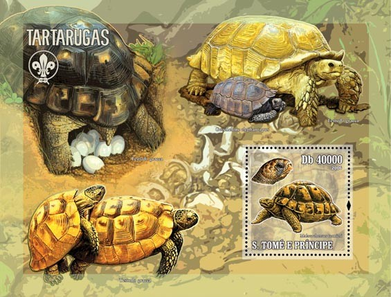 Turtles (& scouts) S/s = 40 000 Db - Issue of Sao Tome and Principe postage stamps