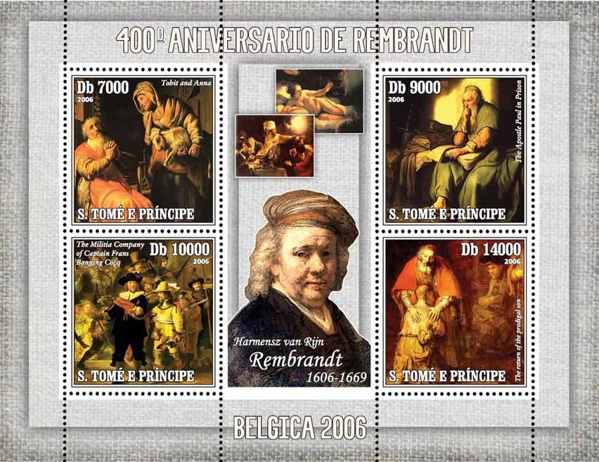 Paintings of Rembrandt (400th anniv.) 4 v = 40 000 Db - Issue of Sao Tome and Principe postage stamps