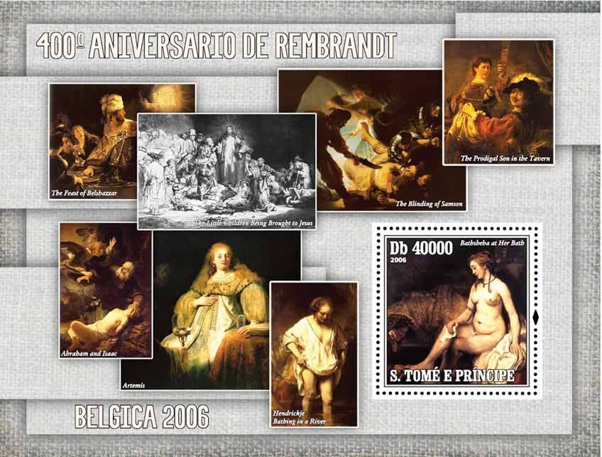 Paintings of Rembrandt (400th anniv.) S/s = 40 000 Db - Issue of Sao Tome and Principe postage stamps