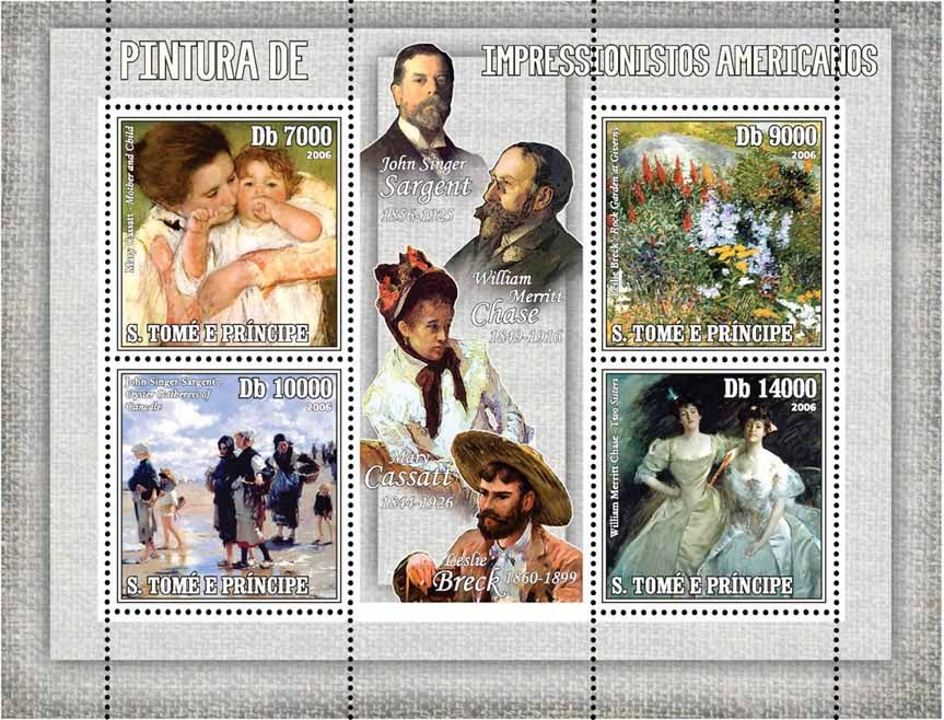 Paintings of American Impressionists 4 v = 40 000 Db - Issue of Sao Tome and Principe postage stamps