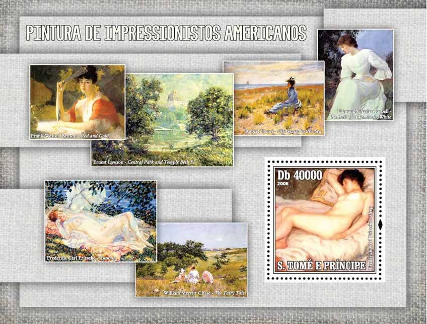Paintings of American Impressionists S/s = 40 000 Db - Issue of Sao Tome and Principe postage stamps